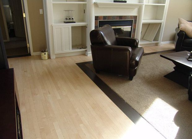 Wood Floors With Carpet Inlay For The Den
