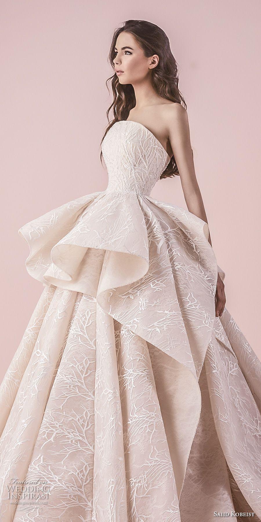 Wedding dress with color  saiid kobeisy  bridal strapless straight across neckline full