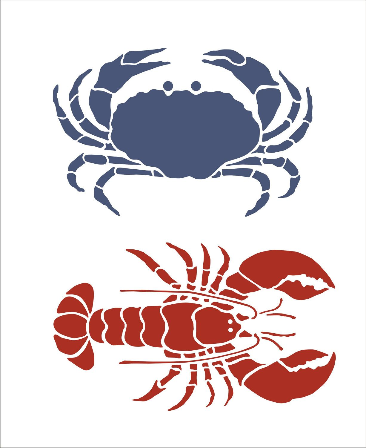 Stencils-- Crab and Lobster--for painting a set on canvas? super ...