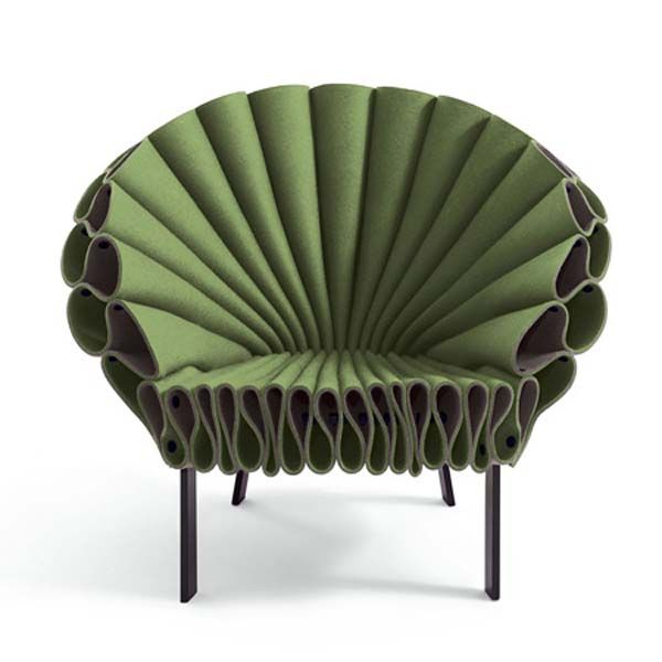 Green Felt Peacock Chair, by Dror for Cappellini