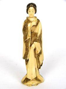 Japanese Okimono Japanese Meiji Period Faux Ivory Bone Carved Figure Of Geisha Okimono