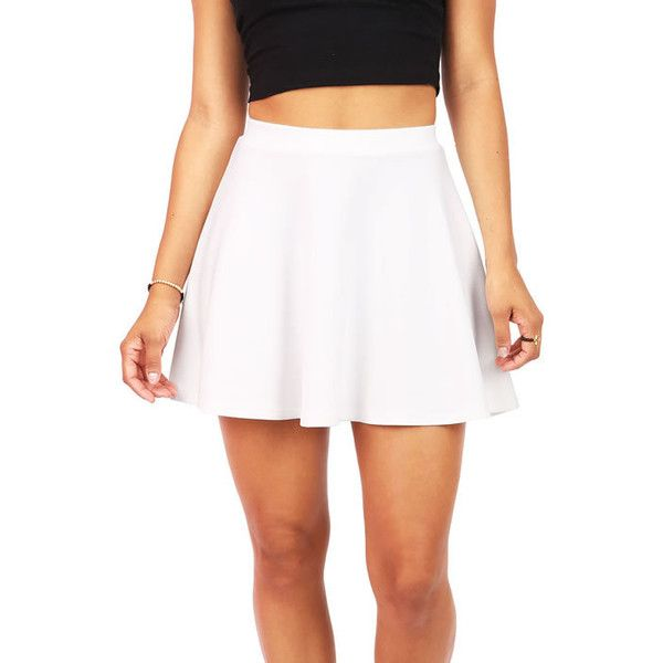 Pink Ice Classic Skater Skirt (€13) ❤ liked on Polyvore featuring skirts, bottoms, saias, white, white skater skirt, stretch skirt, flared skirt, pink skater skirt and pink skirt
