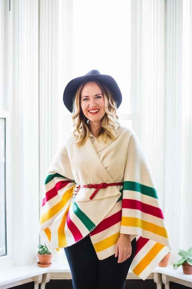 Turn a pretty blanket into a no-sew sweater wrap.