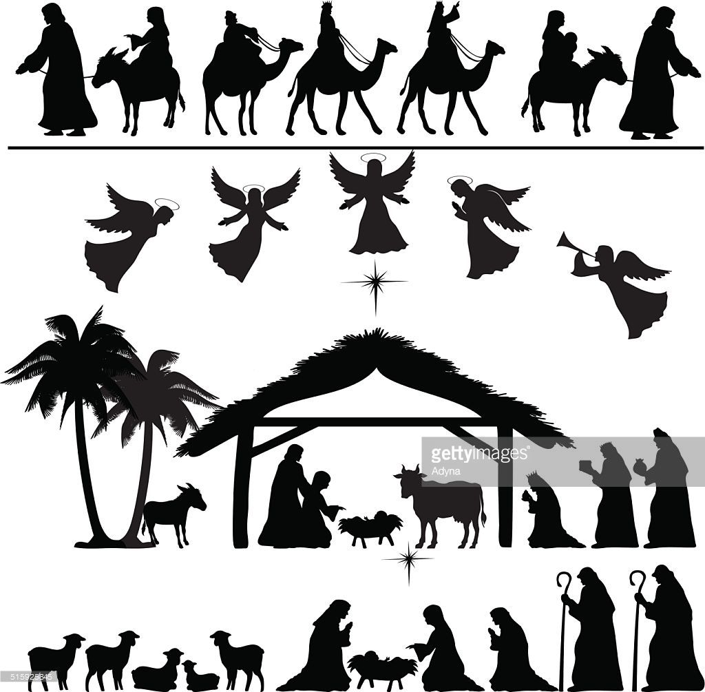 High detail Vector nativity Christmas set of Black