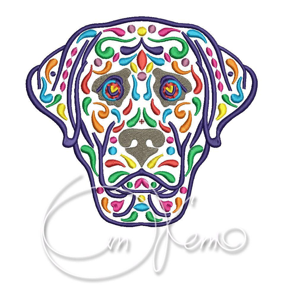 MACHINE EMBROIDERY DESIGN - Calavera labrador, Dia de los muertos, Mexican design, Halloween design, calavera dog, Day of the dead, lab by OTKETO on Etsy