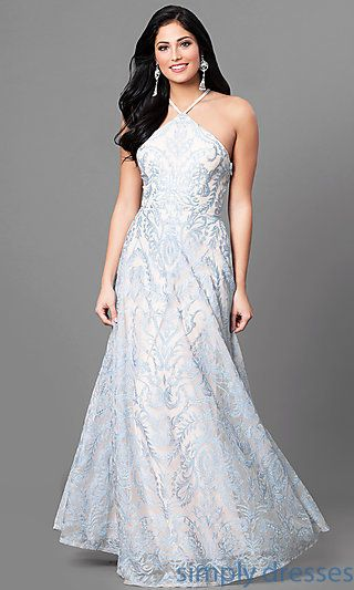 Blue and Nude Long Prom Dress with Embroidery | Pear shape body ...