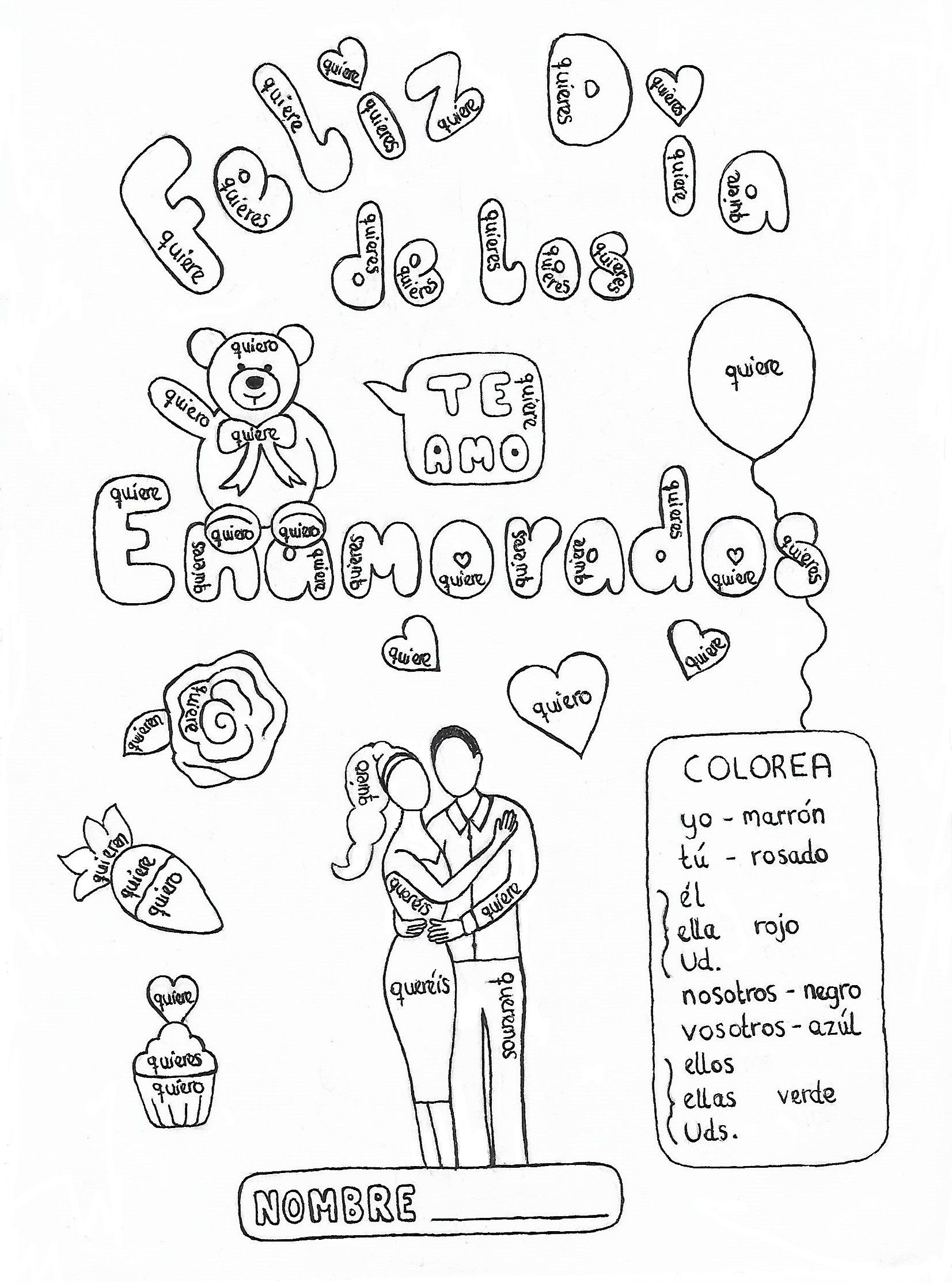 Spanish Querer Valentine S Day Color By Conjugation Fun No