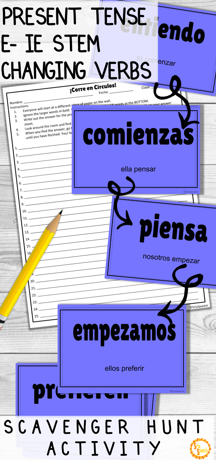 Present Tense E Ie Stem Changing Verbs Corre En Circulos With Digital Option Spanish Lesson Plans High School Spanish High School Spanish Classroom [ 1530 x 720 Pixel ]