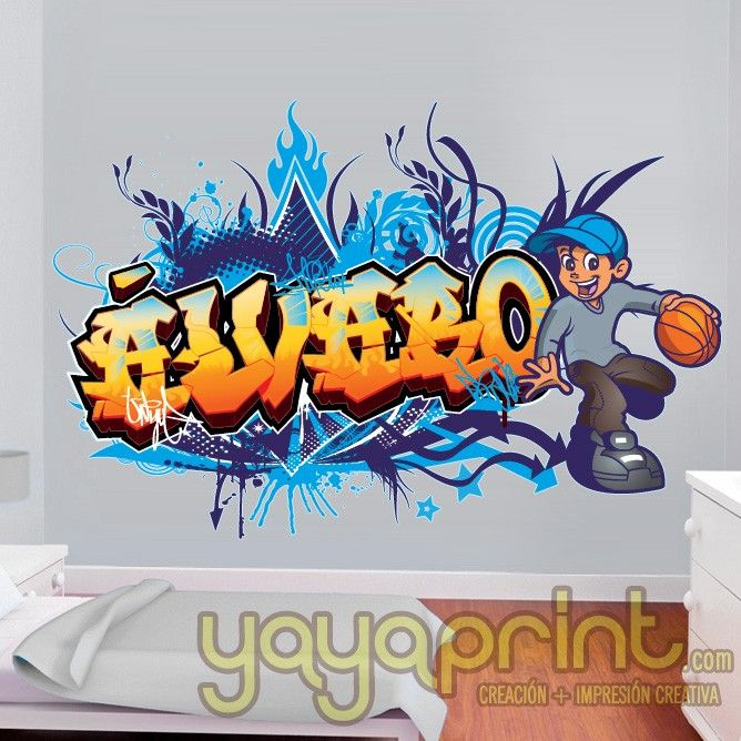 graffiti nombre skate decoraci n decorar habitaci n dormitorio infantil juveni alvaro yayaprint. Black Bedroom Furniture Sets. Home Design Ideas