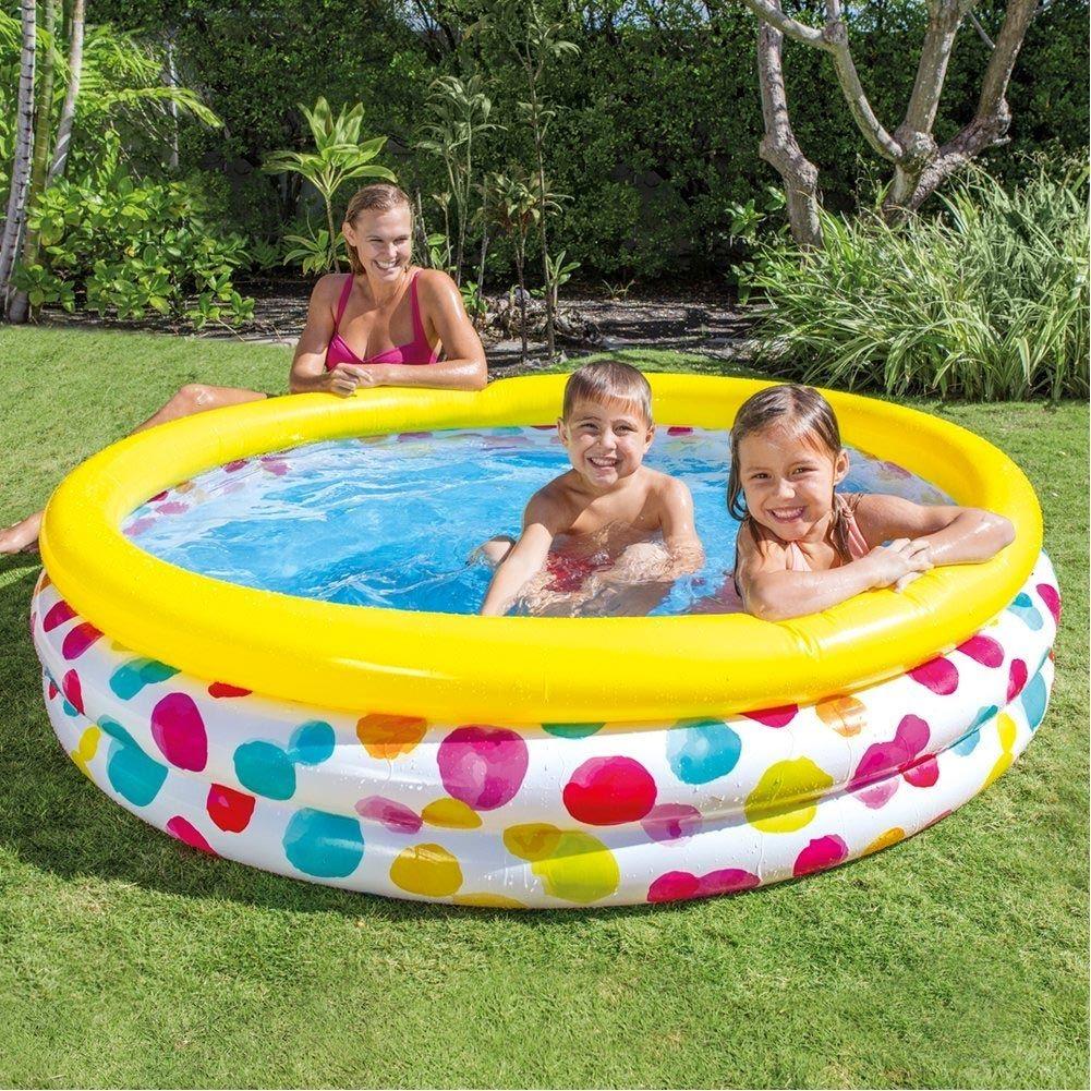 Piscina Gonfiabile Per Bambini 3 Anelli 168 X 40 Cm Giardino