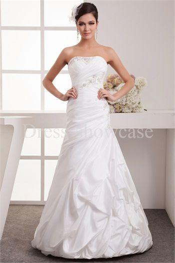 Sleeveless Spring/ Fall Taffeta Zipper-back Most Beautiful Wedding Dress