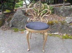 Metal Art Hollywood Regency Ornate Glam Vanity Chair Chair | eBay ...