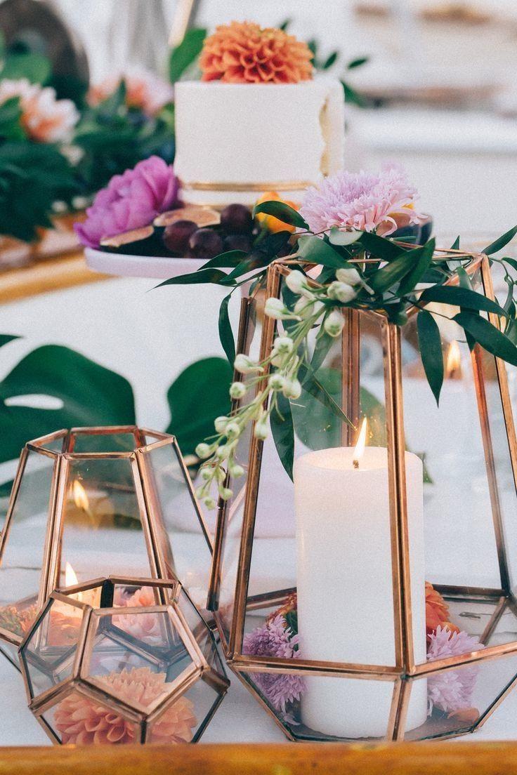 Kupferfarbene Dekoration.Kupferfarbene Kerzenhalter Wedding D L