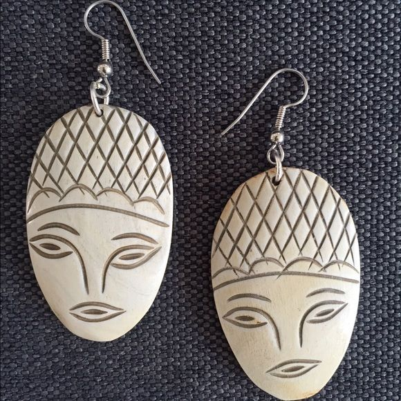 """Earrings: Face it!  [Silver] Very unique set of earrings. Faces etched into lightweight wood. Silver hooks. Earring face about 2"""". Jewelry Earrings"""