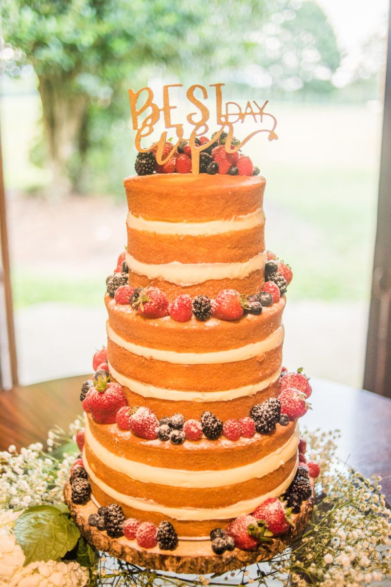 Best Day Ever Naked Berry Wedding Cake