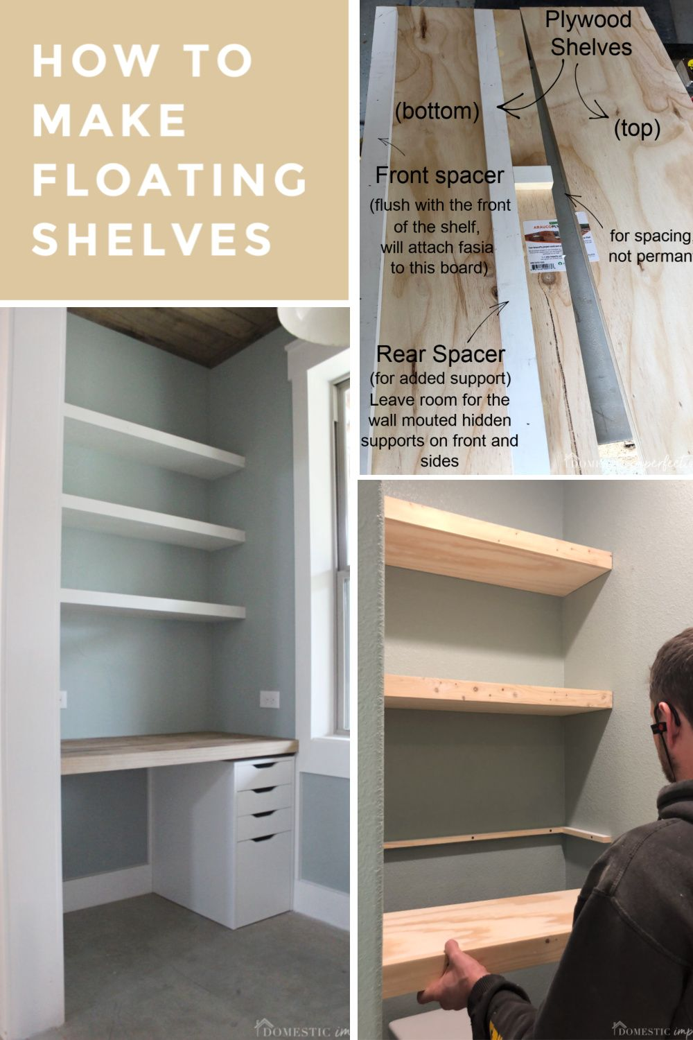 How To Build Thick Floating Shelves From Plywood Plywood Shelves Floating Shelves Shelves