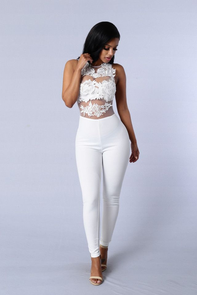 72435df3e82 Available in Black and White - Sleeveless Jumpsuit - Mesh and Crotchet Lace  Details - Zipper Back Closure - 100%Nylon