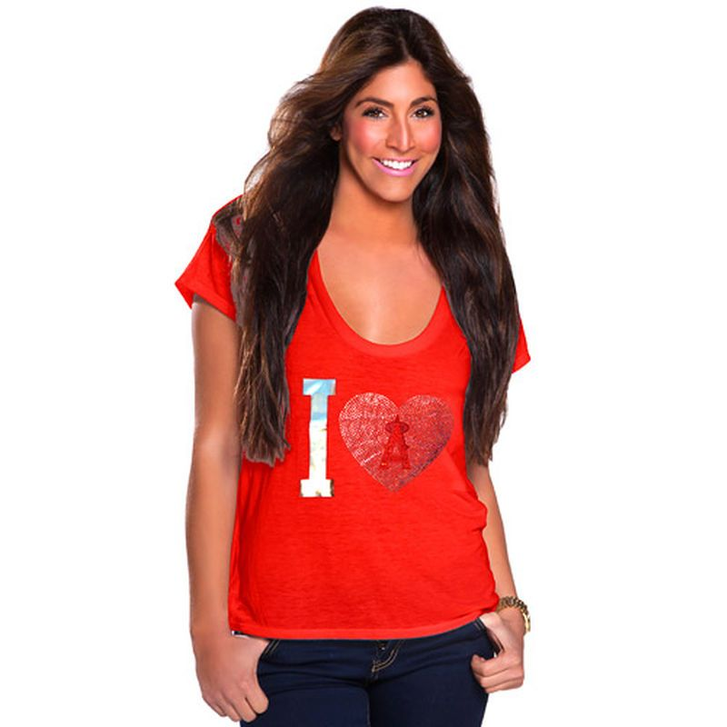 Los Angeles Angels of Anaheim Cuce Women's I Heart Team T-Shirt - Red