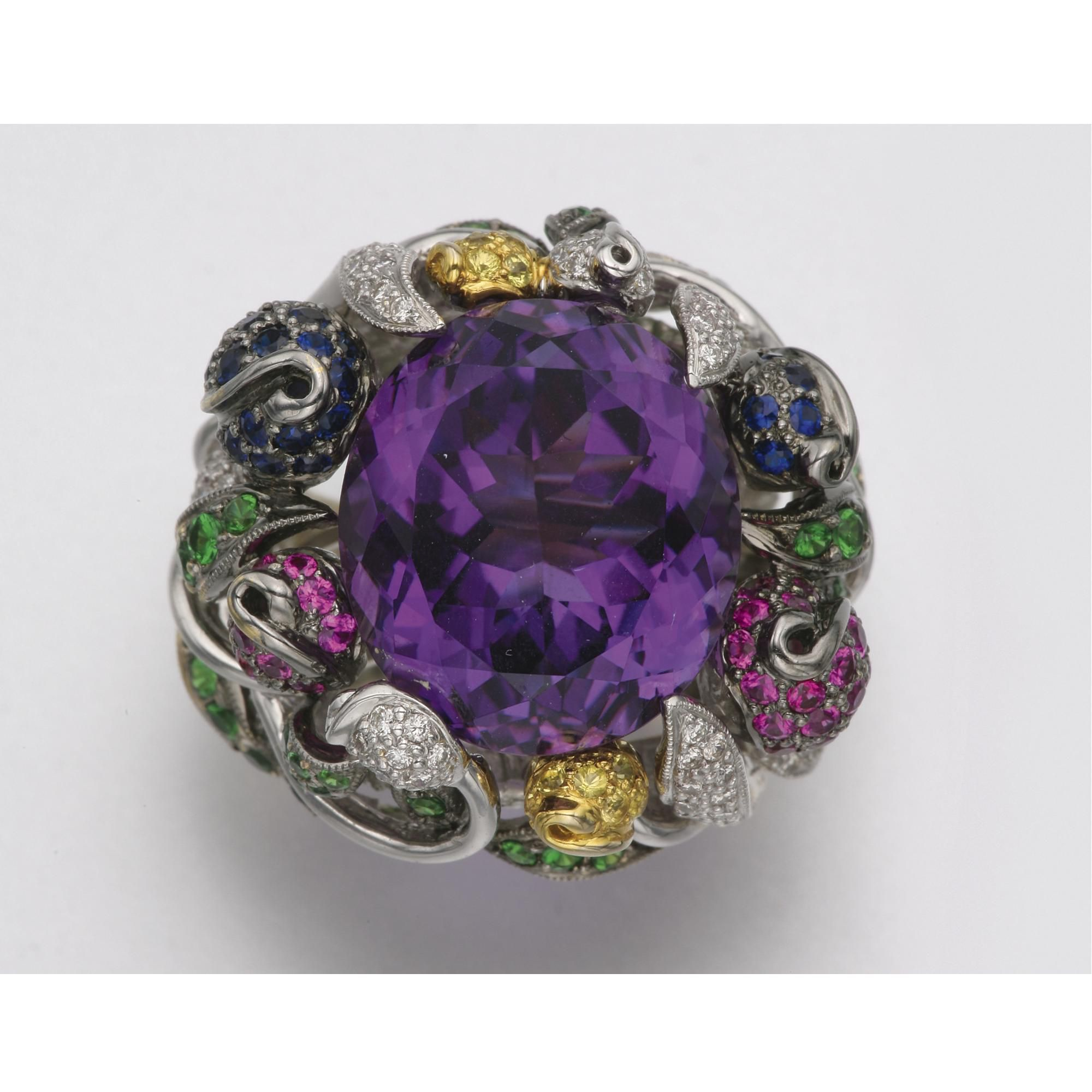 18k white gold amethyst colored stone and diamond ring 1