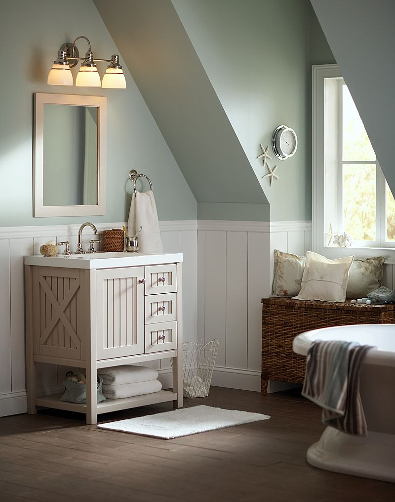 Martha stewart living seal harbor in vanity in sharkey gray with vanity top in white Martha stewart bathroom collection