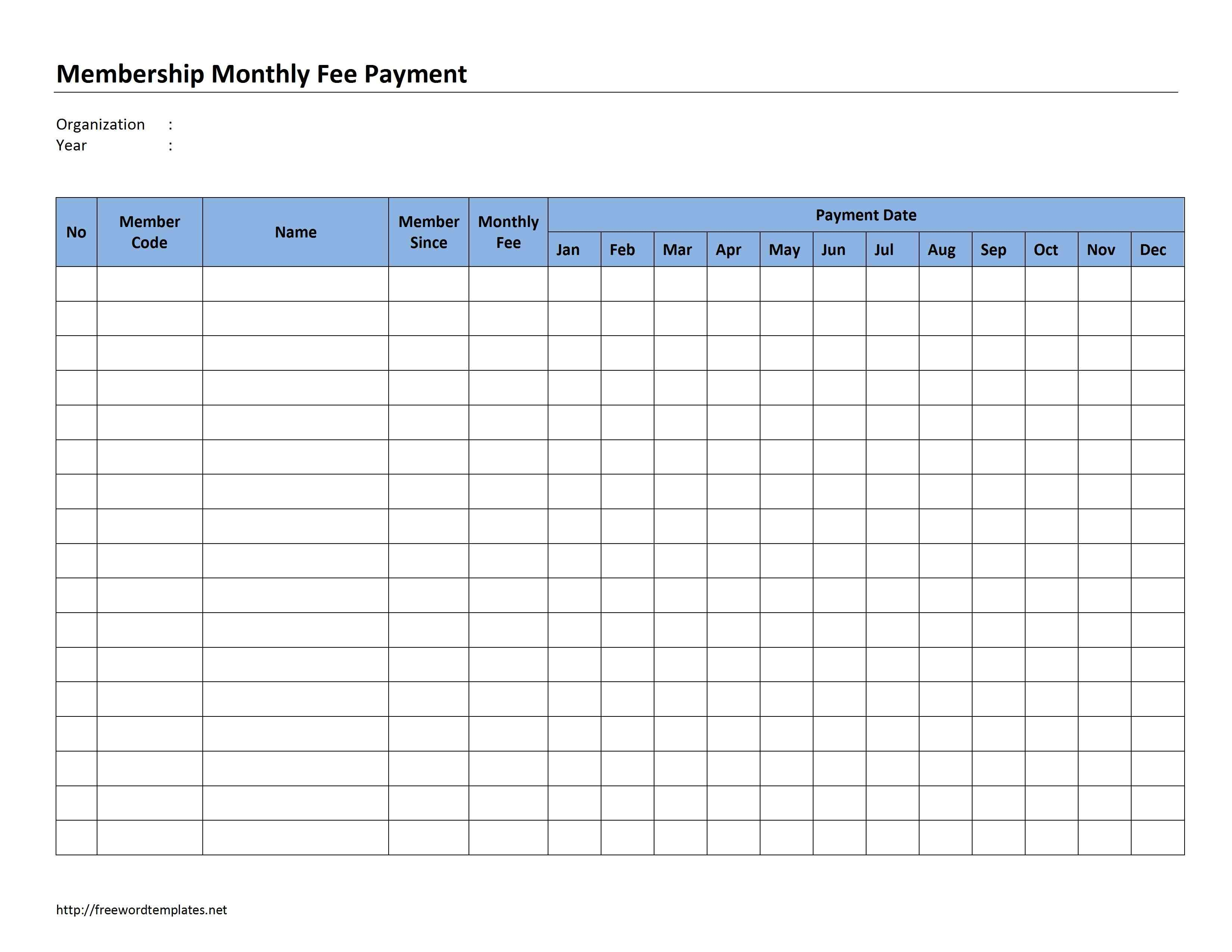 Monthly Payment Record Template