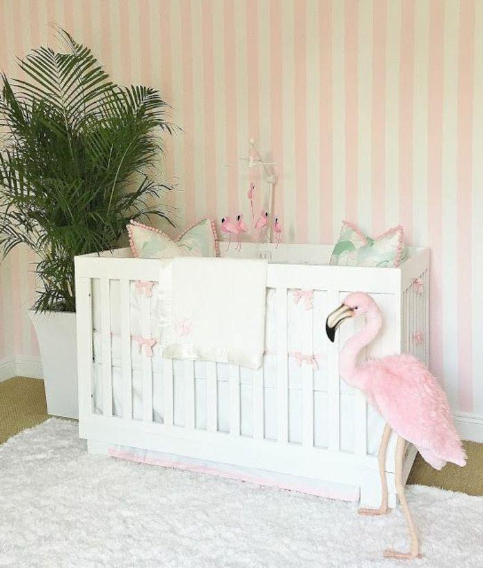 einrichtung kinderzimmer ideen weißes bett flamingo blumen palme, Schlafzimmer design