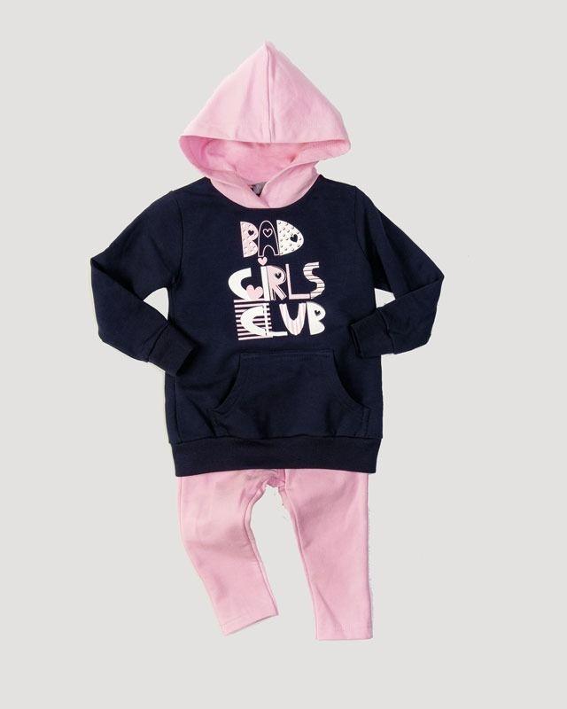 9d7f72e7d16 Σετ μπλουζοφόρεμα για κορίτσια που αποτελείται από μπλούζα baby φούτερ με  κουκούλα, τσέπες και τύπωμα