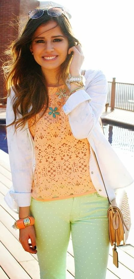 Stores Siman Orange Lace Blouse