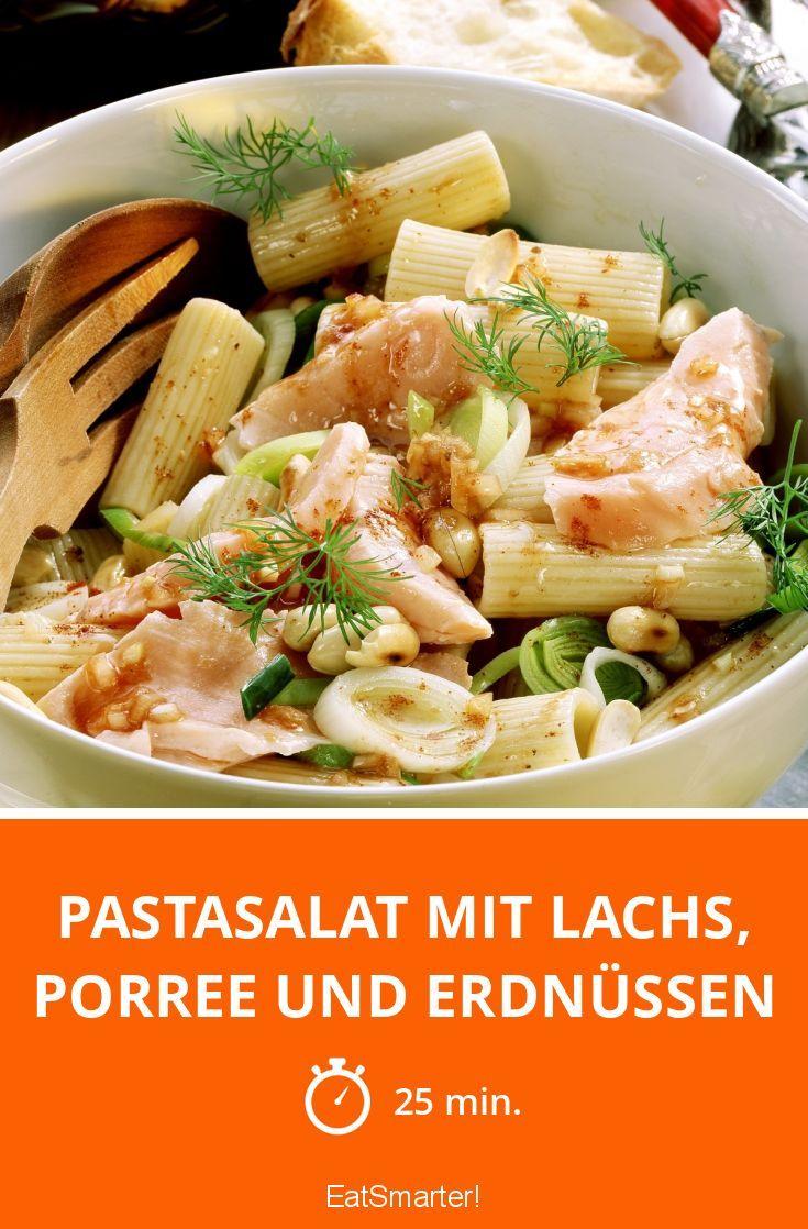 Pastasalat mit Lachs, Porree und Erdnüssen | Rezept | Erdnüsse ...