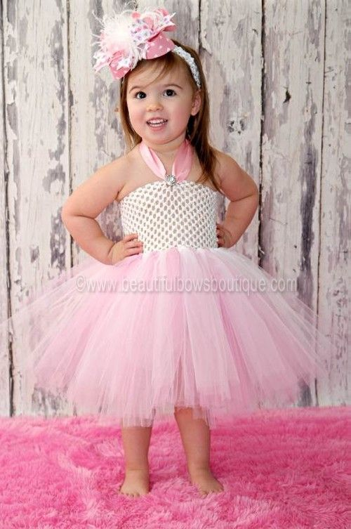 Fancy Pink White Toddler Baby Girl Tutu Dress | Baby girl tutu ...