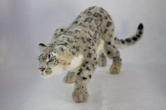 Needle Felted Snow Leopard Sculpture