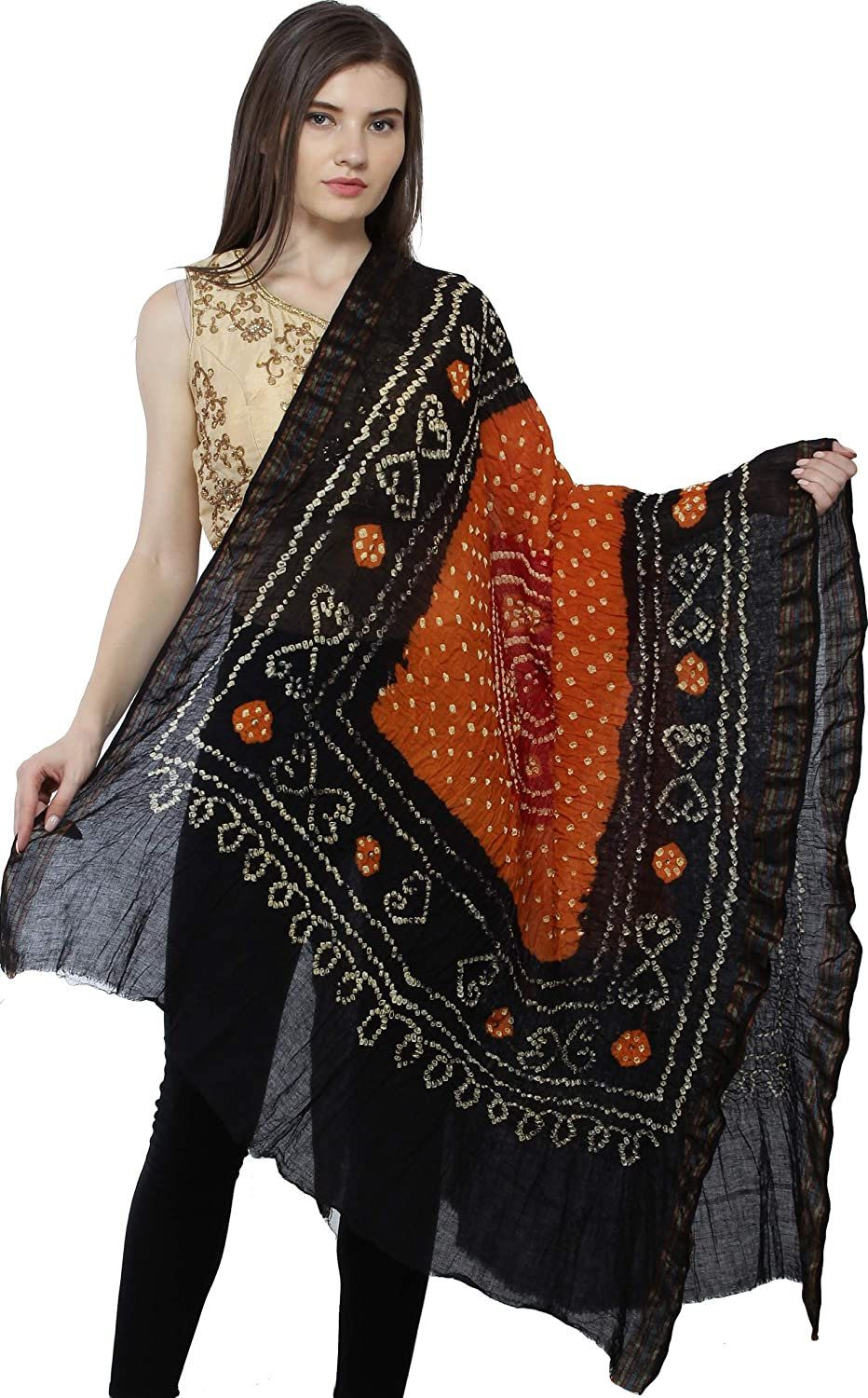 Cotton Bandhani Dupatta with Mirror And Shell Work Stoles Indian Bridal Chunni