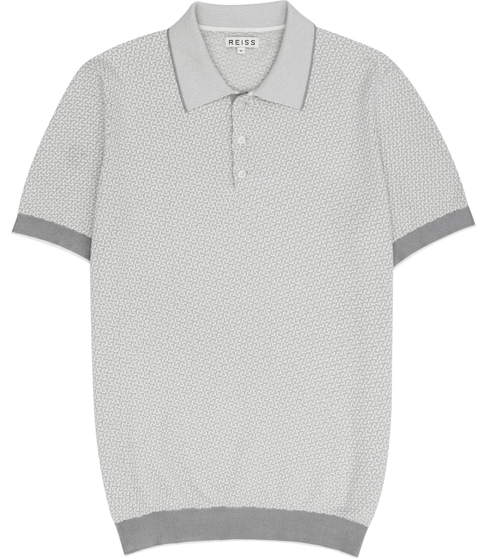 947f03df1 Mens Grey Geometric Knitted Polo Shirt - Reiss Folio