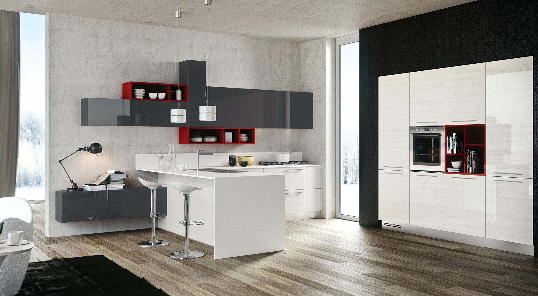 Kitchen:Charming Kitchen Design Ideas With Gray White Cabinets Also Red  Open Shelves Also White Kitchen Table And Bar Stools With Table Lamp And  Black ...