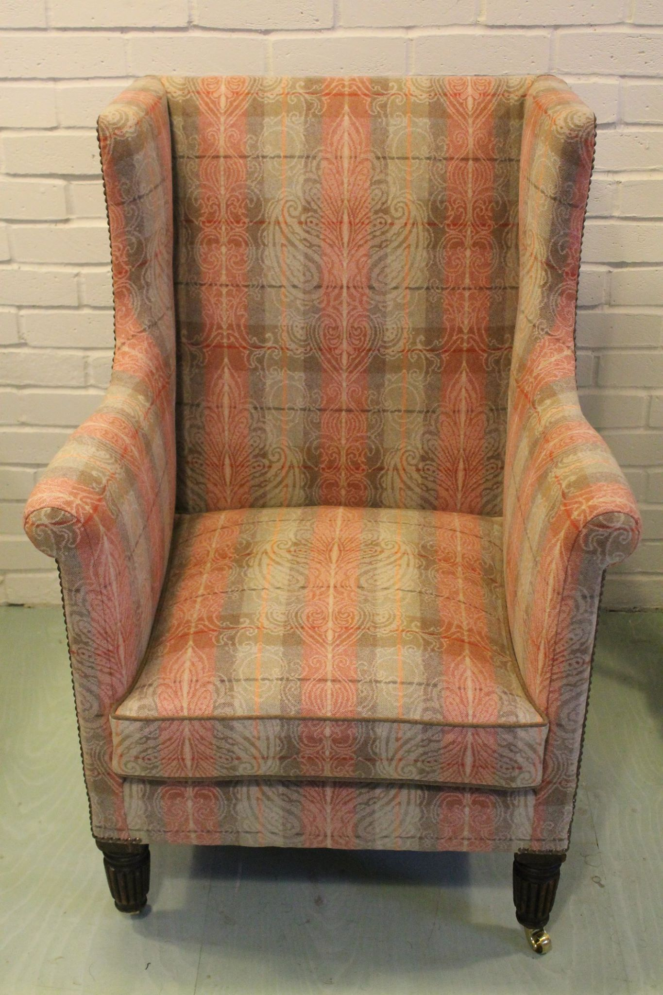 Wingback reupholstered at Kendal Upholstery in Linwood fabric