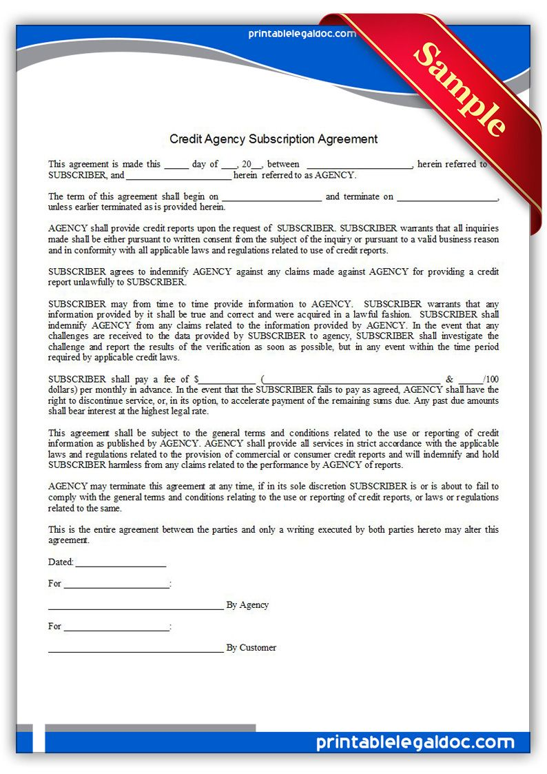Free Printable Credit Agency Subscription Agreement Sample