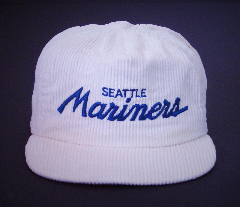 Vintage Sports Specialties Seattle Mariners Script Corduroy Cap (white!)