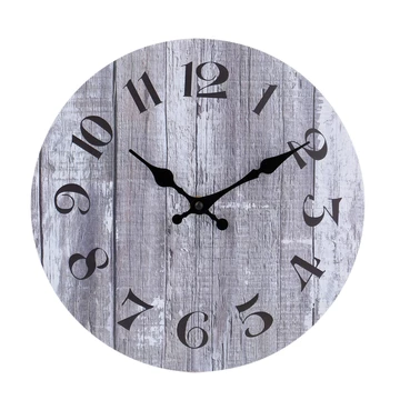 Silent Non Ticking Wooden Decorative Round Wall Clock Quality Quartz Battery Operated Wall Clocks Vintage Rustic Country Tuscan Style Gray Wooden Home Decor Rou Round Wall Clocks Vintage Wall Clock Wall Clock