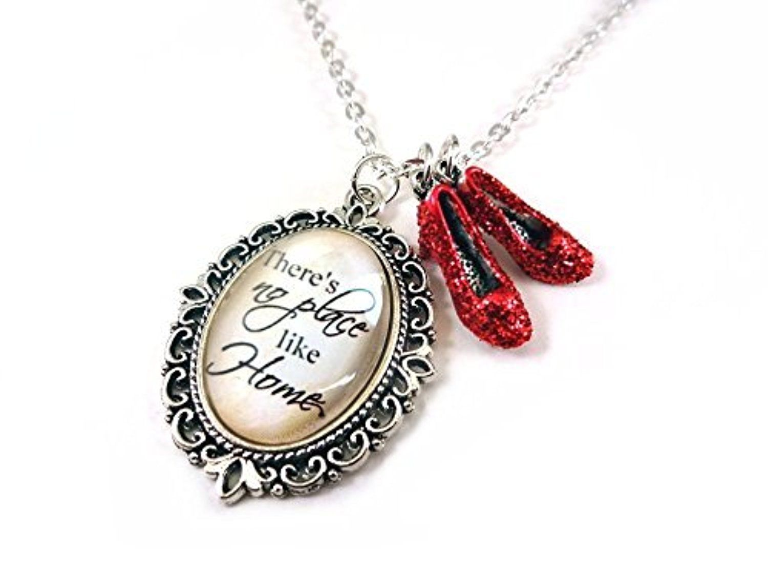 LunarraStar Wizard of Oz locket charm necklace - There's no place like Home Ruby red shoes & wand