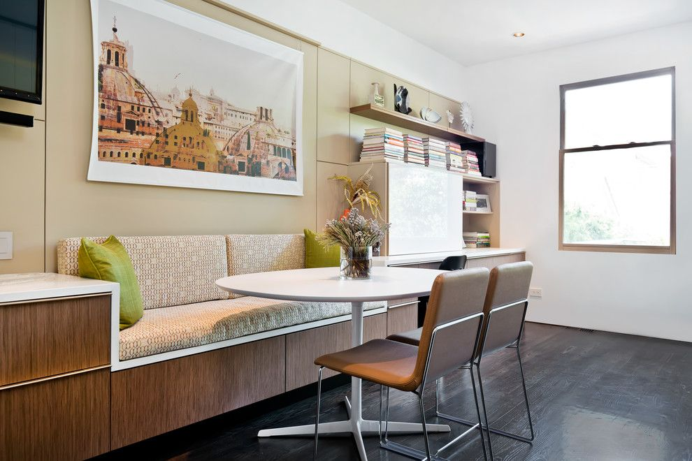 Modern Banquette Seating Breakfast Nook Duomo Art Floating Shelves Greenfield Cabinetry Kitchen Desk Patterned Cushions