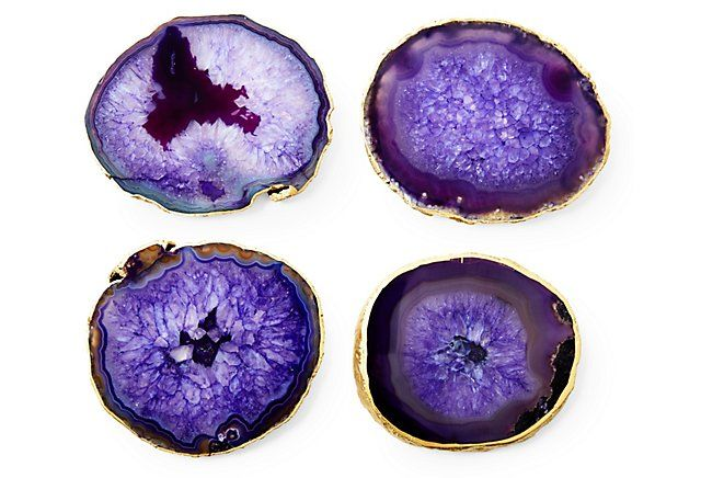 S/4 Gold-Rimmed Agate Coasters, Purple | One Kings Lane