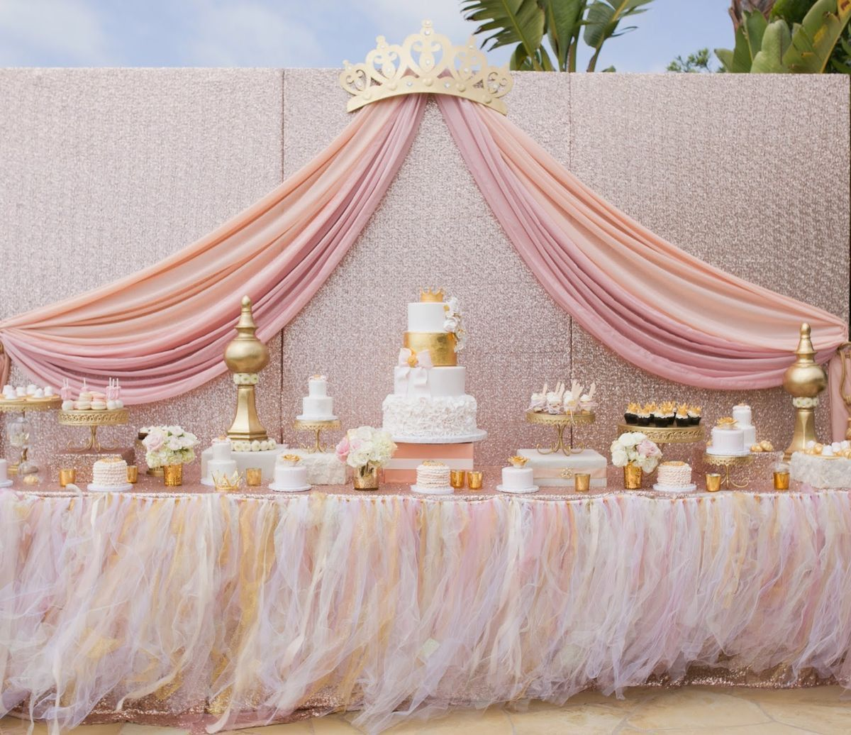 Dessert table idea // Gold Chandelier Cake Stands by Opulent Treasures // princess pink gold white birthday theme