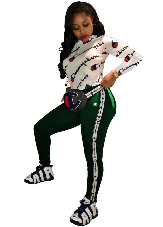 Champion Long Sleeve Sport Two Piece Setpant Setwomen Setsexy