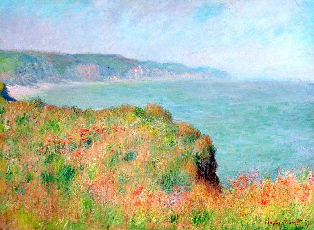 Sur La Falaise À Pourville by Claude Monet Art Claude Monet