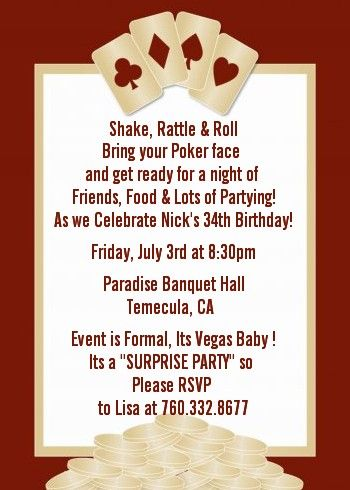 Casino party inviteslove the wording on this one Want to do a
