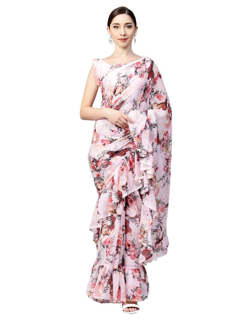 dc399bd769f051 Inddus pink chiffon floral printed ruffle saree with blouse piece in ...