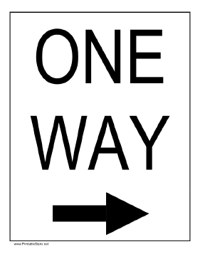 Printable One Way To The Right Sign Printable Signs Yield Sign Construction Signs
