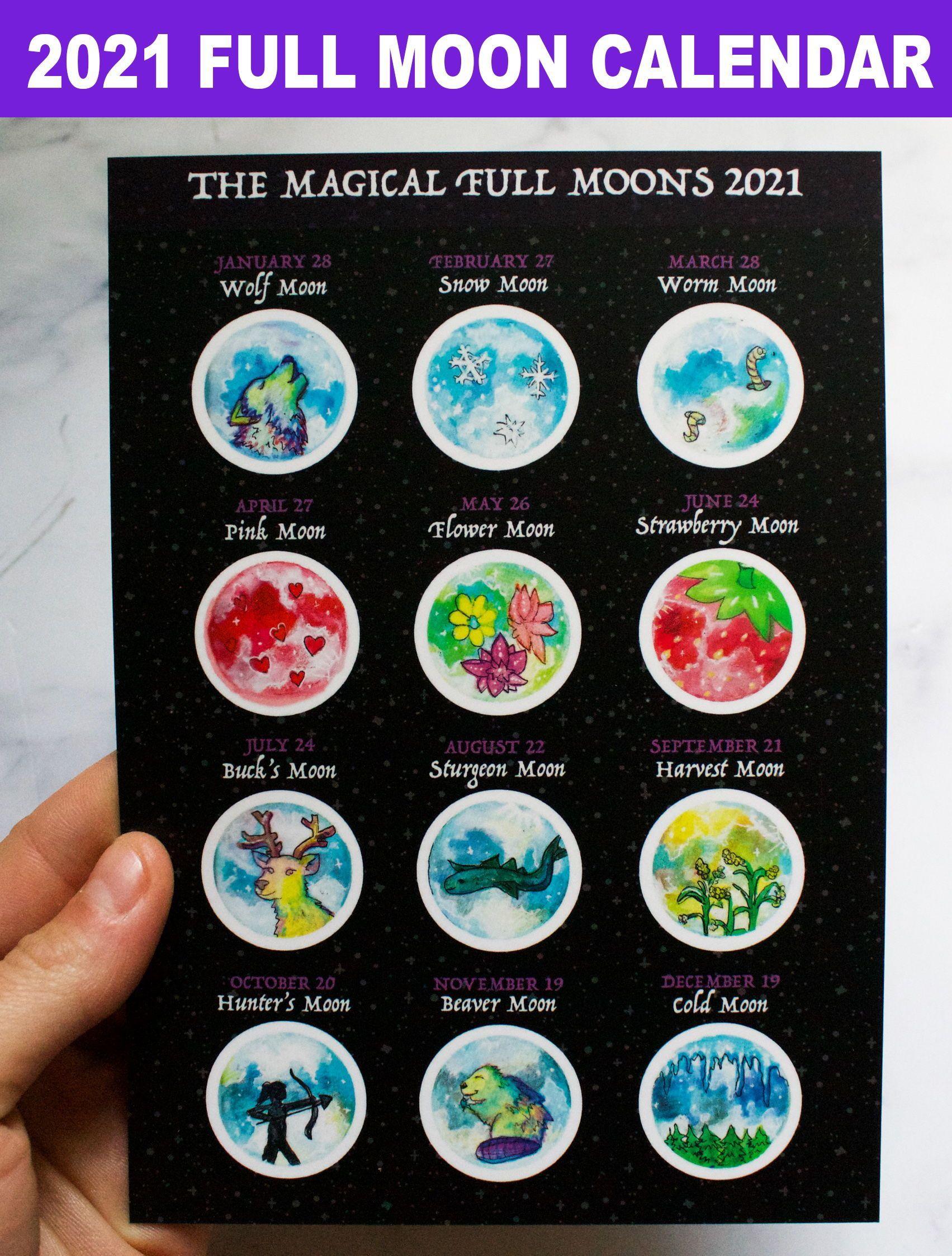 20 Magic Full Moon Lunar Calendar   Traditional Full Moon Names ...