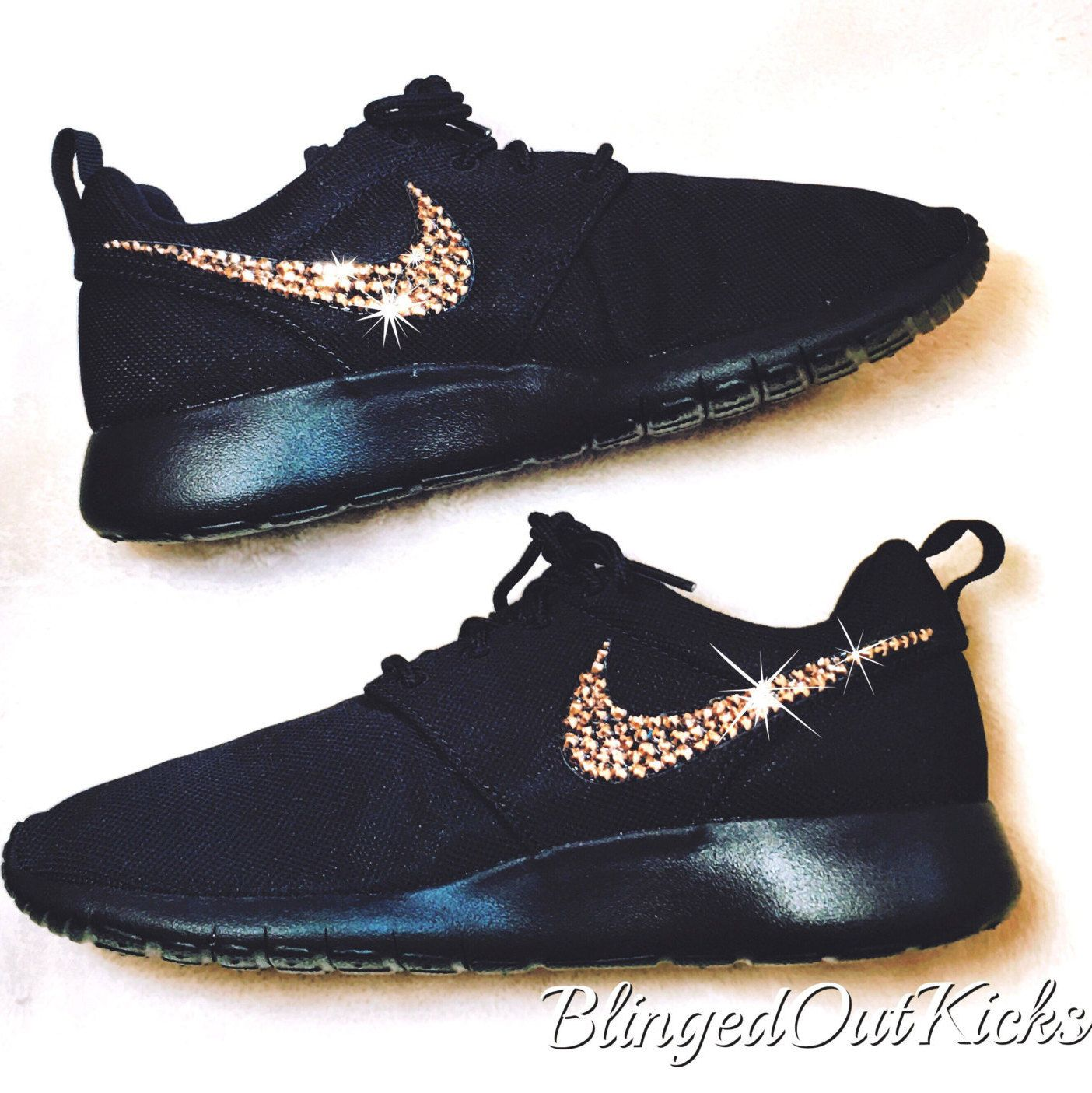 Women s Bling Nike Roshe Two in all Black with Rose gold Swarovski crystal  detail by ShopBlingedOutKicks on Etsy 0e17096cf4
