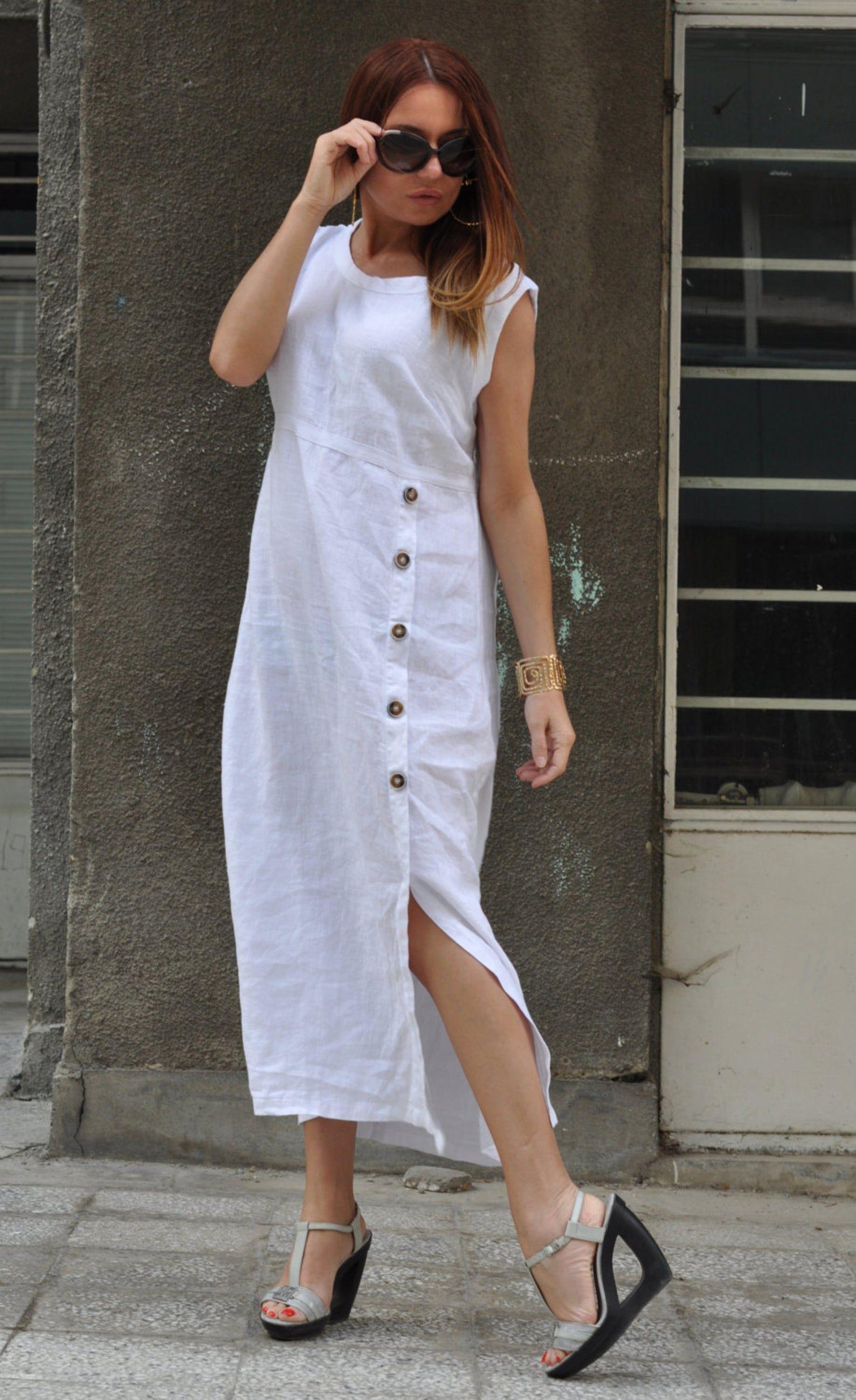 Sleeveless Dress Linen Dress Shirt Dress Linen Clothing Etsy White Dresses For Women Clothes For Women Summer Dress Outfits [ 2598 x 1588 Pixel ]